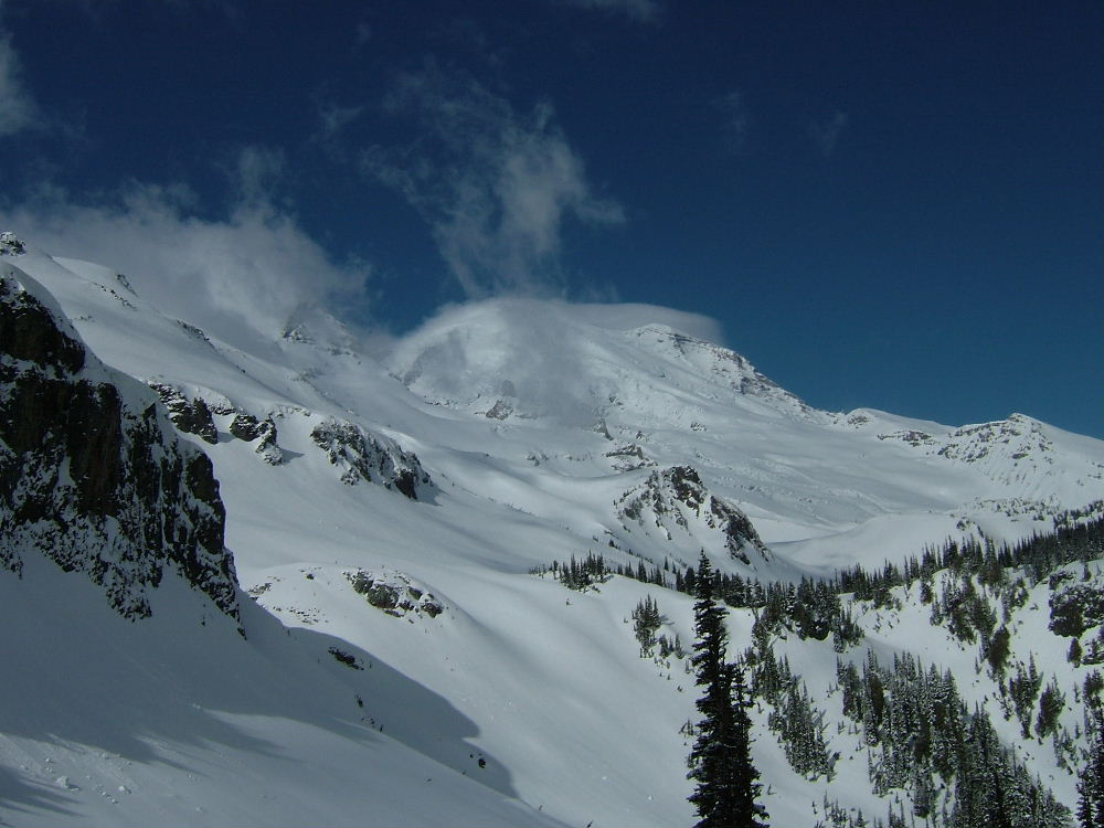 Rainier and the Emmons Glacier from Fryingan creek