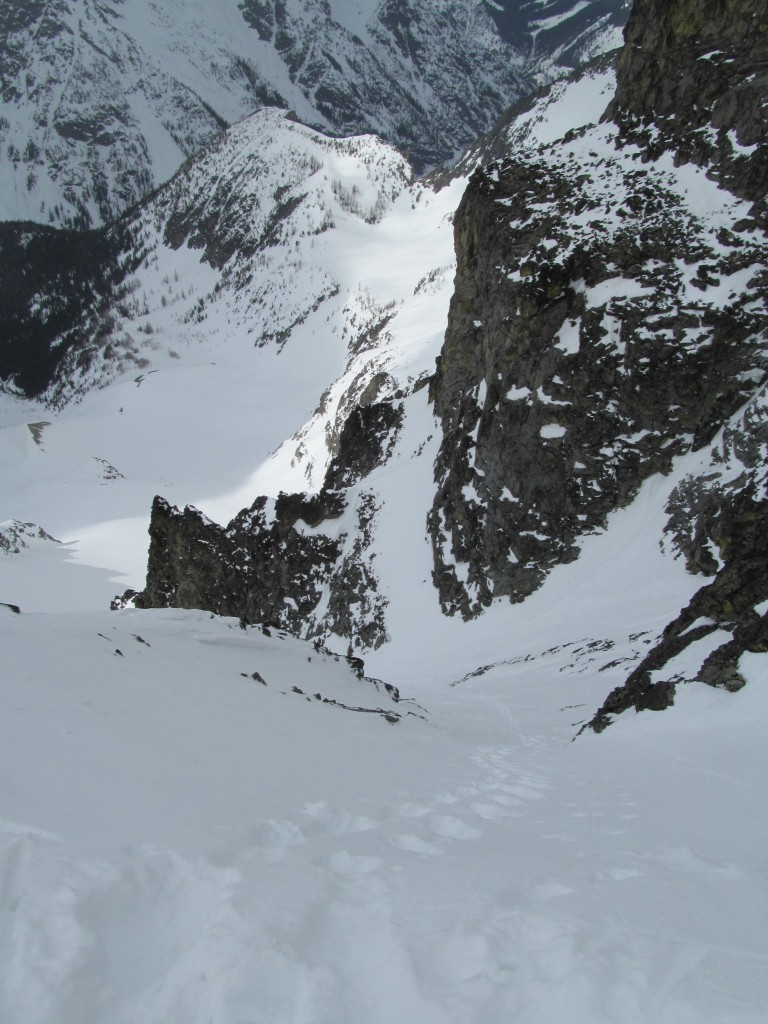 Steep climbing back up the Jacked Couloir
