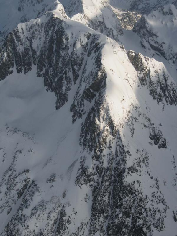 An arrial view of Plan B couloir courtesy of John Scurlock