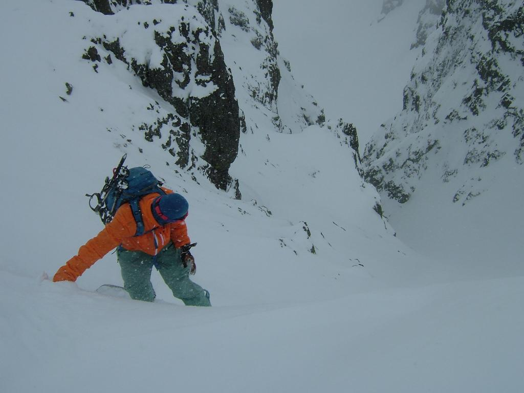 About to descend into the Banshee Couloir