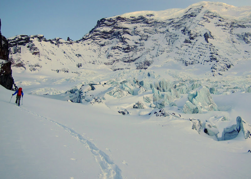 Making our way across the Carbon Glacier