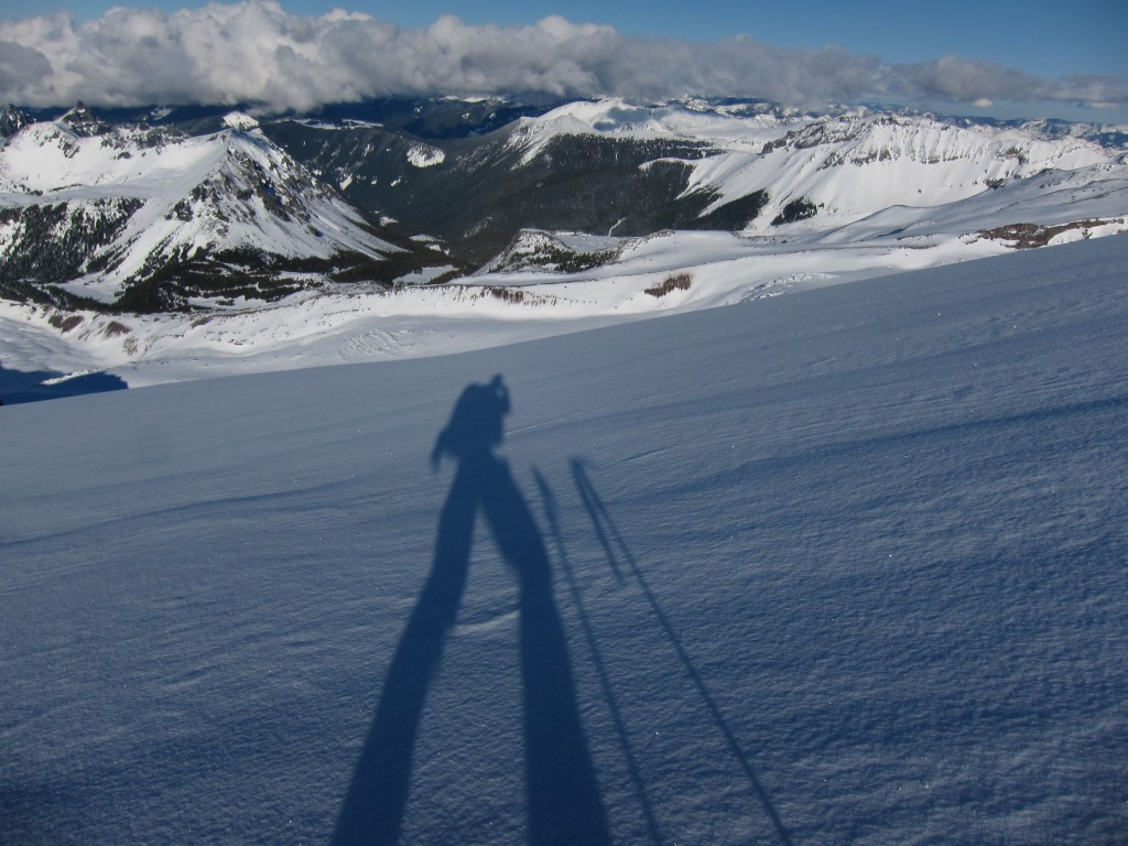 Looking down the Russel glacier towards the Carbon and it is all pow