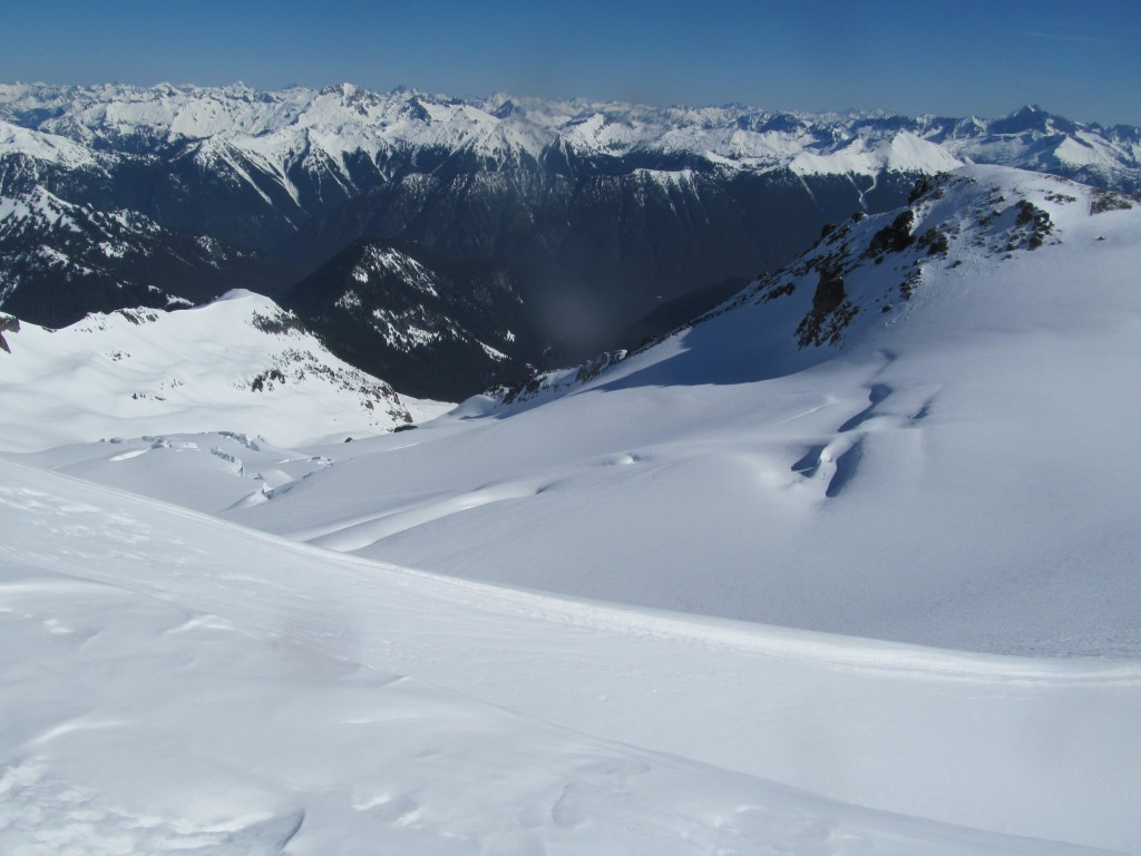 Looking down the Ermie Glacier with a few inches of stable powder