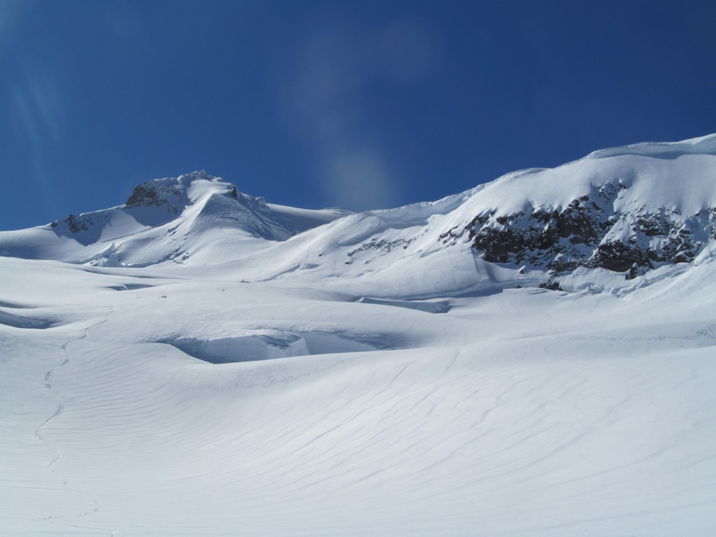 Enjoying the powder conditions on the Ermie Glacier