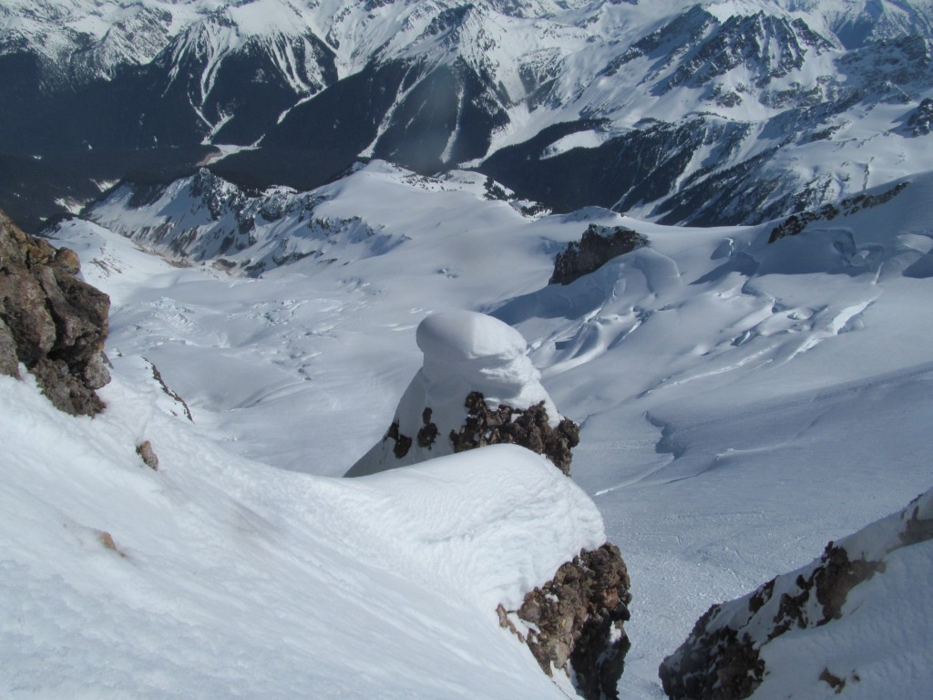 Looking down on the Choclate Glacier and Ten peak