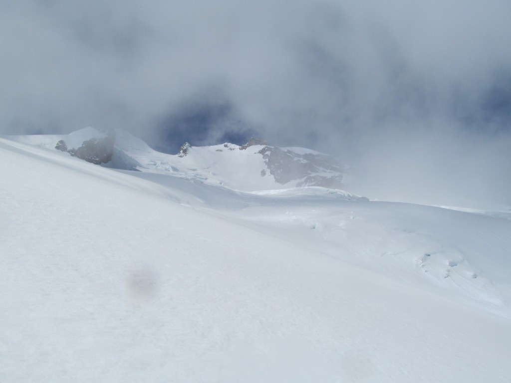 Clouds coming in on the Chocolate Glacier