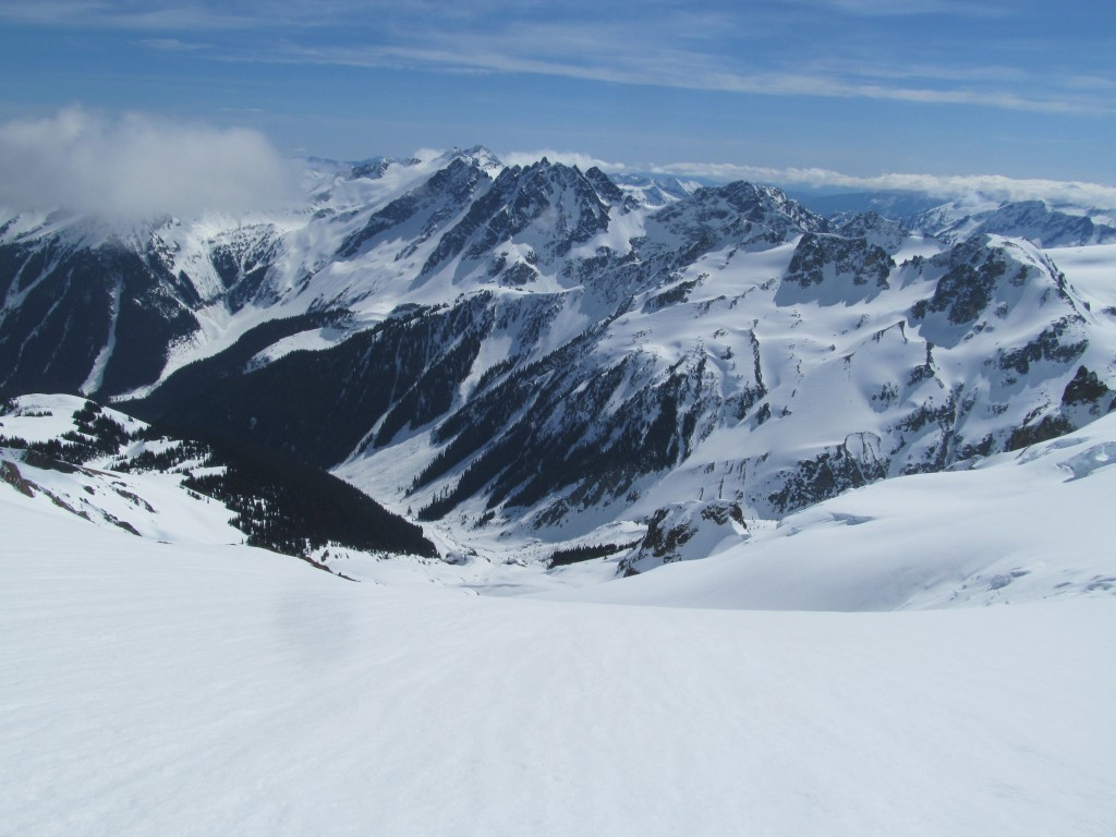 Looking at Ten Peak and the Dakobeds from the summit of Glacier Peak in March