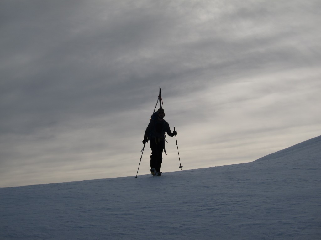 Scott traversing over to the north face of Clark