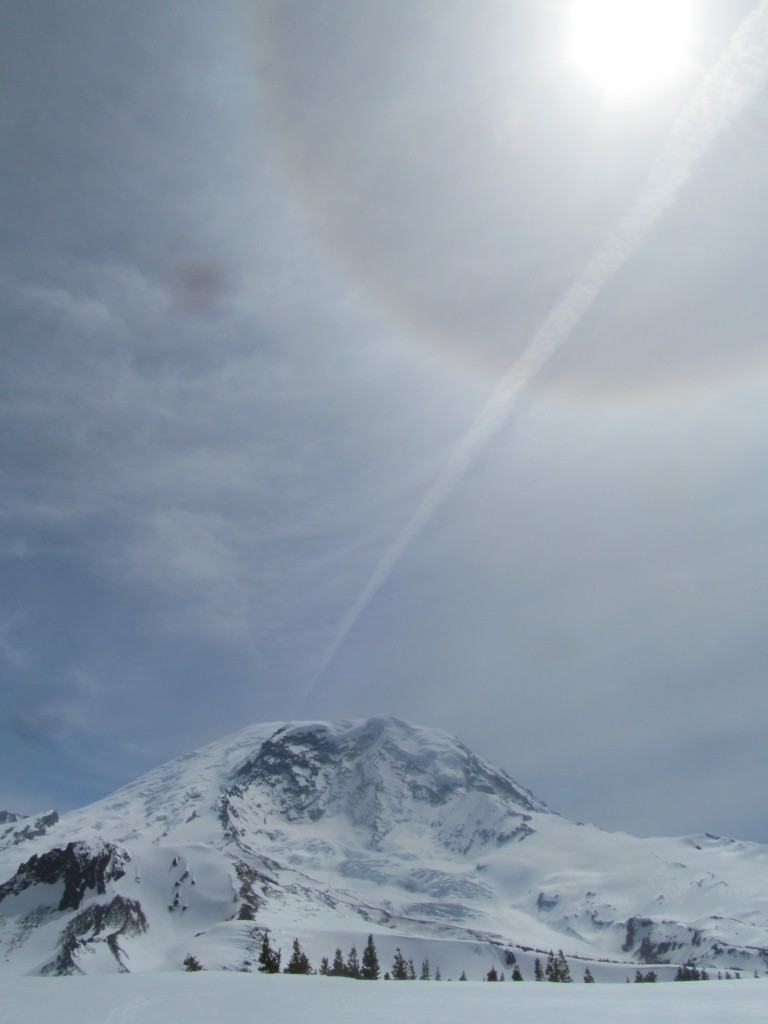Rainier below a sundog