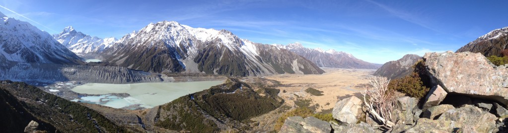 The Muller and Hooker lakes feeding into the Tasman valley
