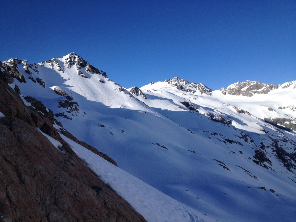 The couloir on the middle right is the Sealy Couloir and yes we tracked out the lines in the foreground