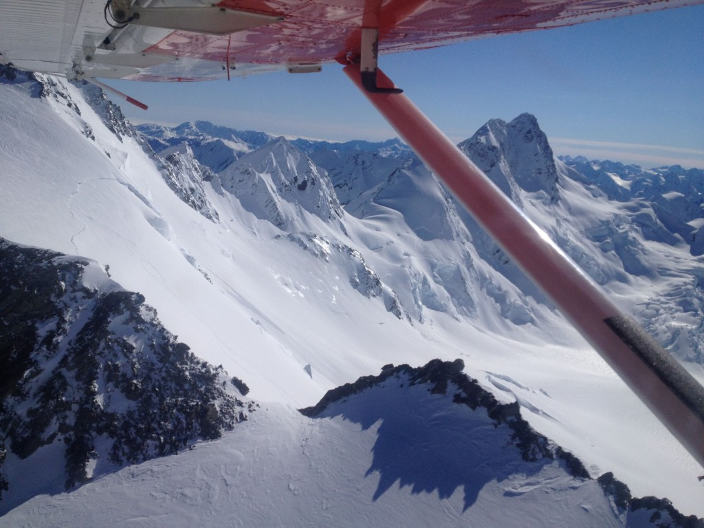 Flying over the Tasman Saddle with Ebens ski tracks heading down